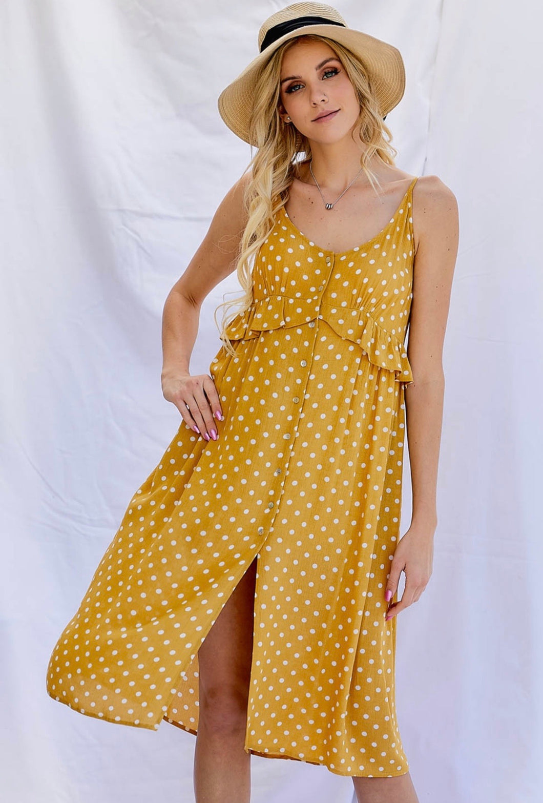 1421 - Mustard Polka Dot Dress