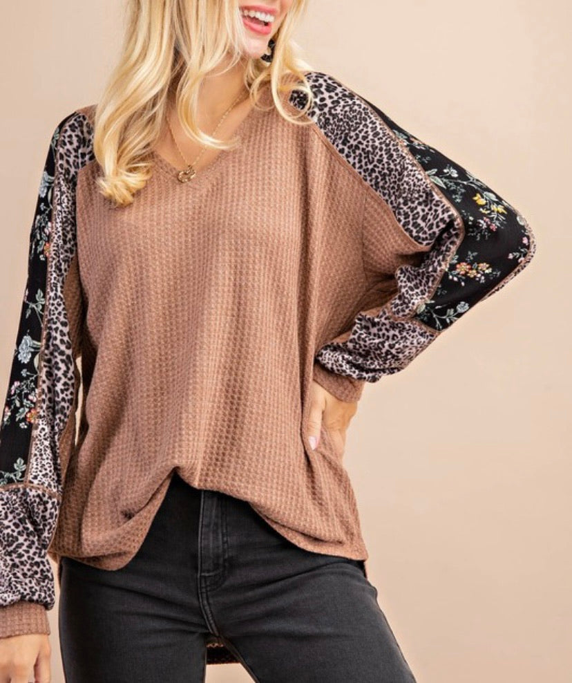 Leopard & Floral Detail Waffle Knit Top