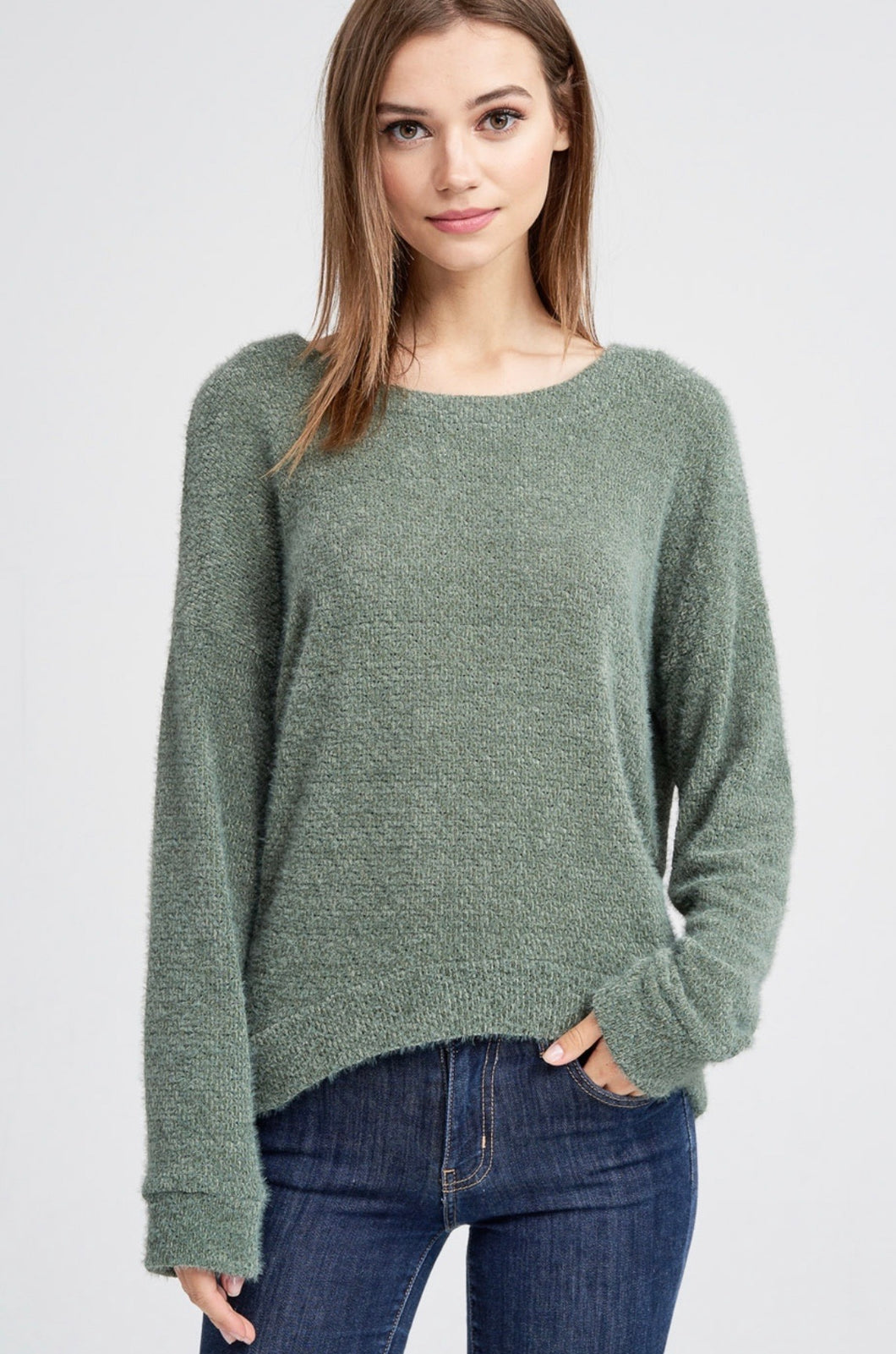 891 - Olive Anything but Basic Sweater
