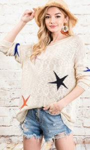 1420 - Beige Multi Star Sweater