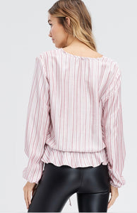 967 - Striped Button Woven Top