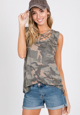 1585 - Camo Criss Cross Tank Top