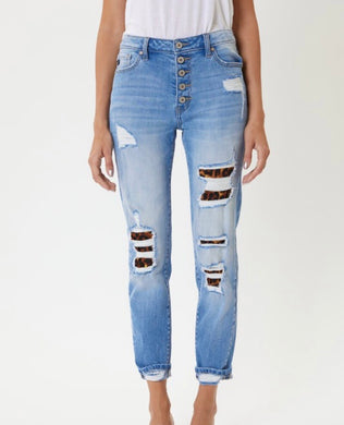 Kancan Animal Print Patch Detail Jeans (KC7131)