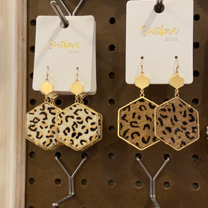 Hexagon Animal Print earrings