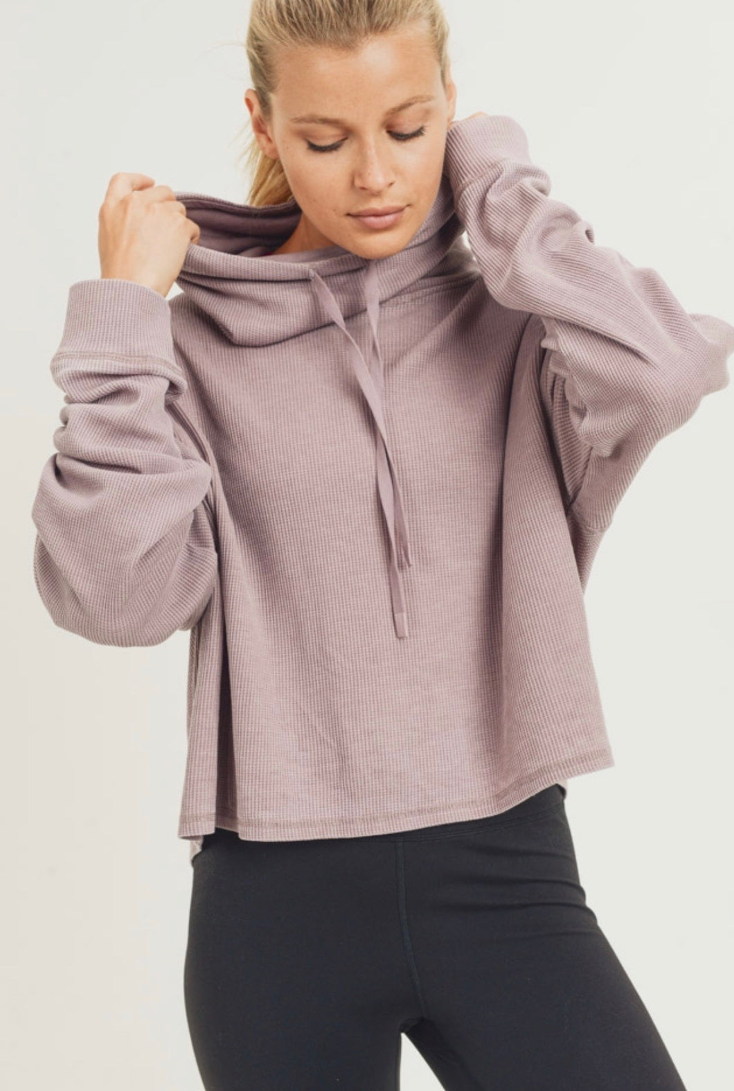 1651 - Boxy Mineral Washed Cowl Neck Pullover