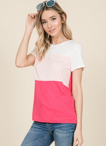 1371 - Casual Color Block Tee