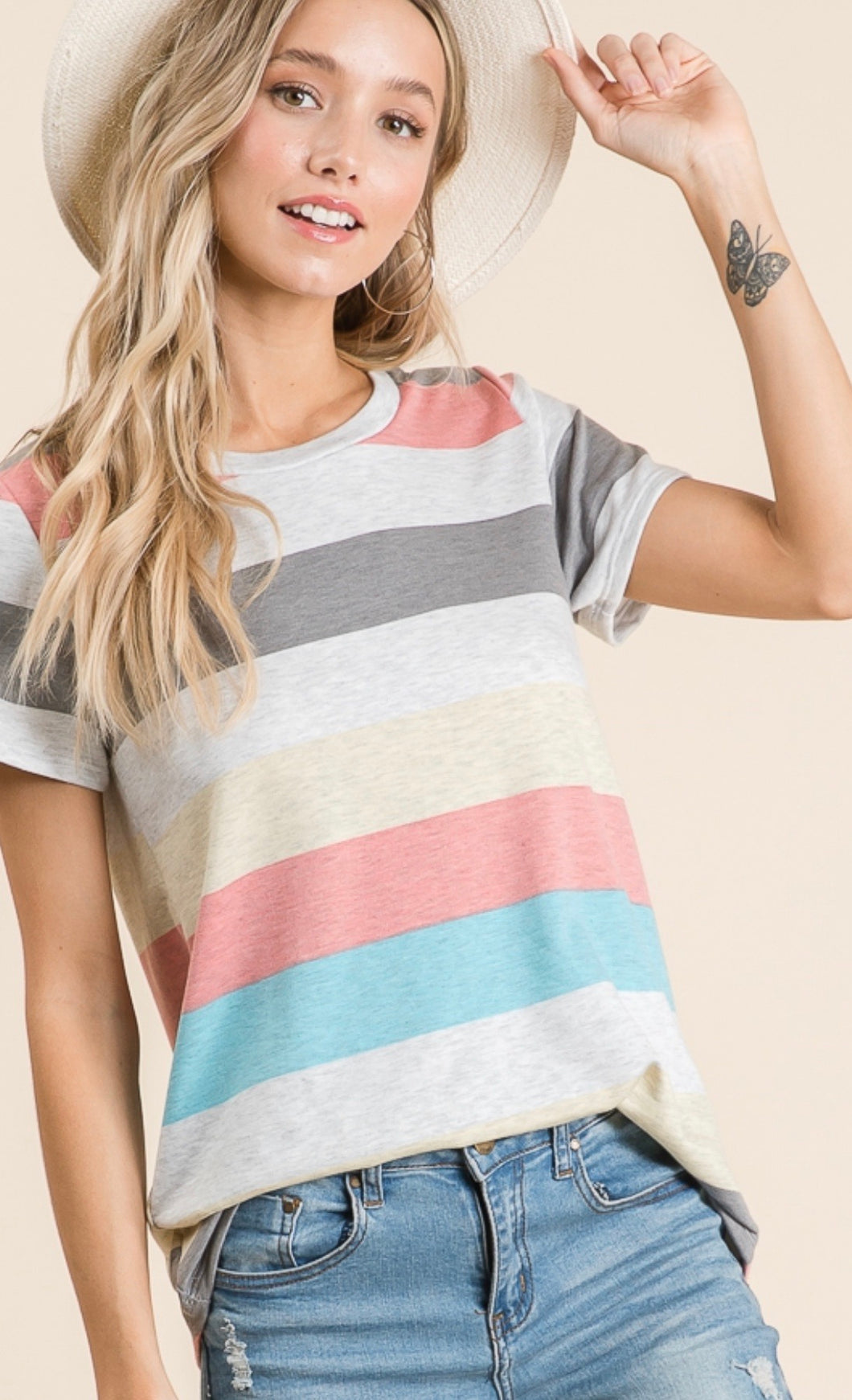 1560 - Multi Stripe Terrific Tee