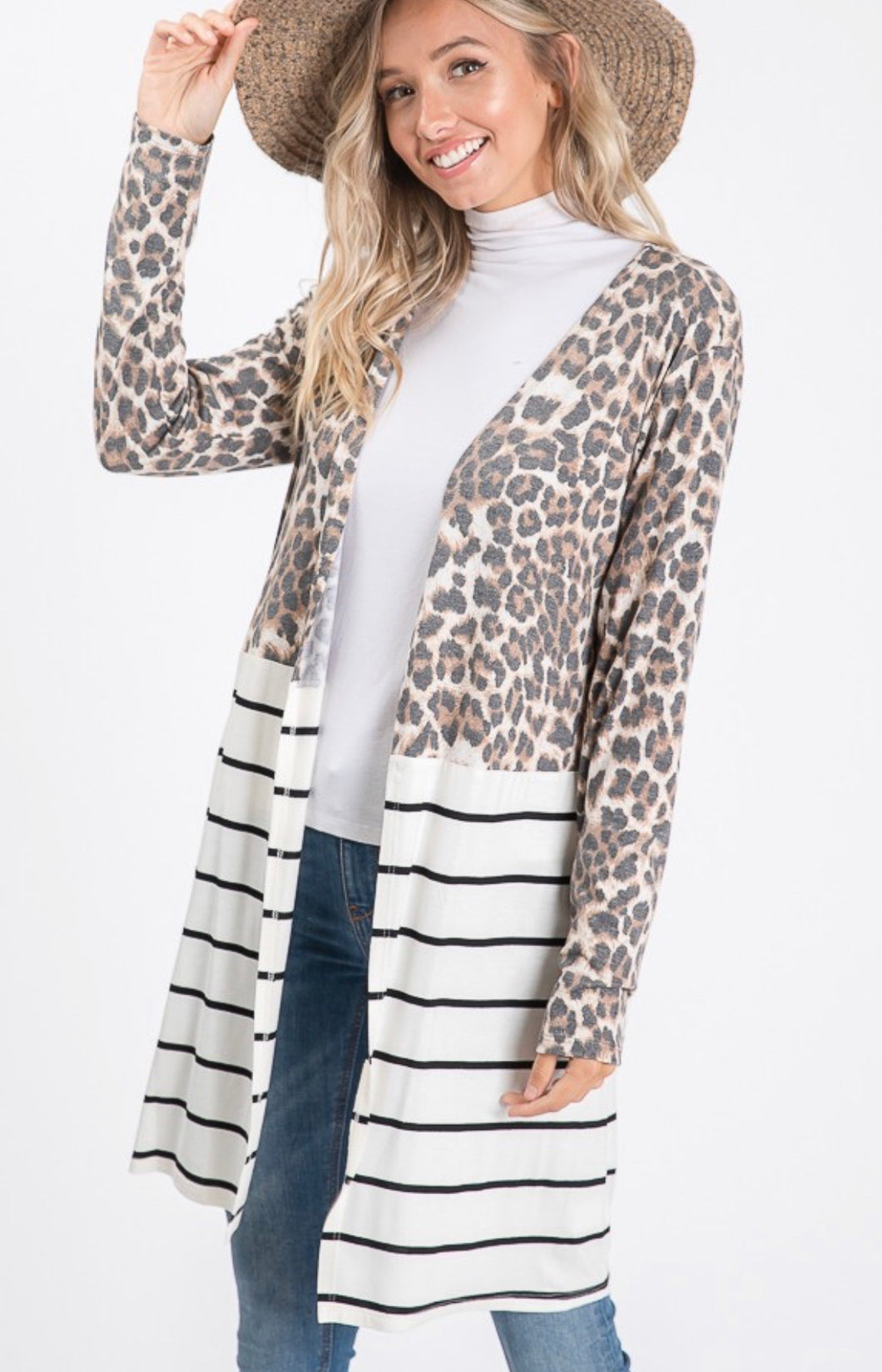 916 - Leopard Stripes Cardigan