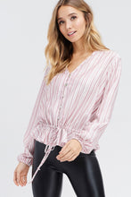 Load image into Gallery viewer, 967 - Striped Button Woven Top