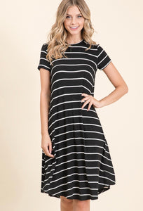1467 - Debbie Casual Stripe Dress