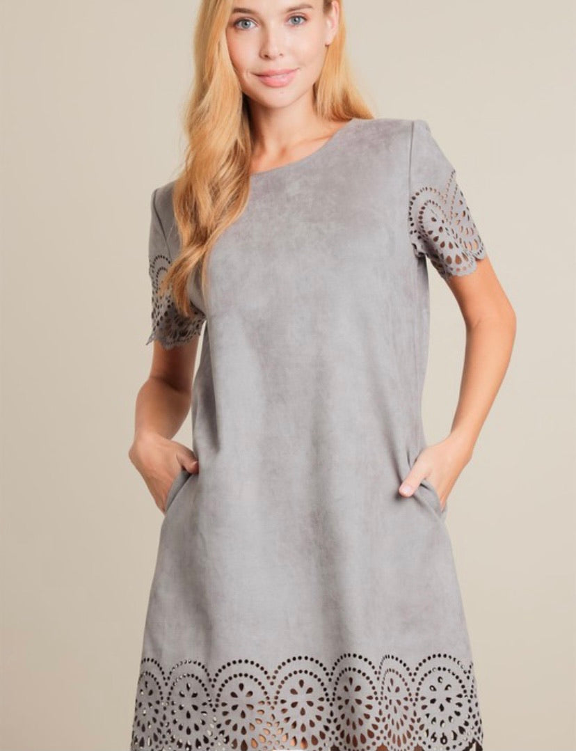 2267- Grey Suede Dress