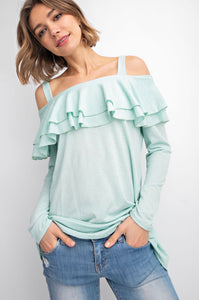 1222 - Mint Ruffle Top