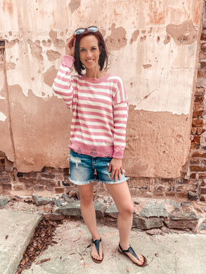 2575 - Spot On Distressed Striped Sweater