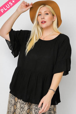 1125 - Black Draped Blouse