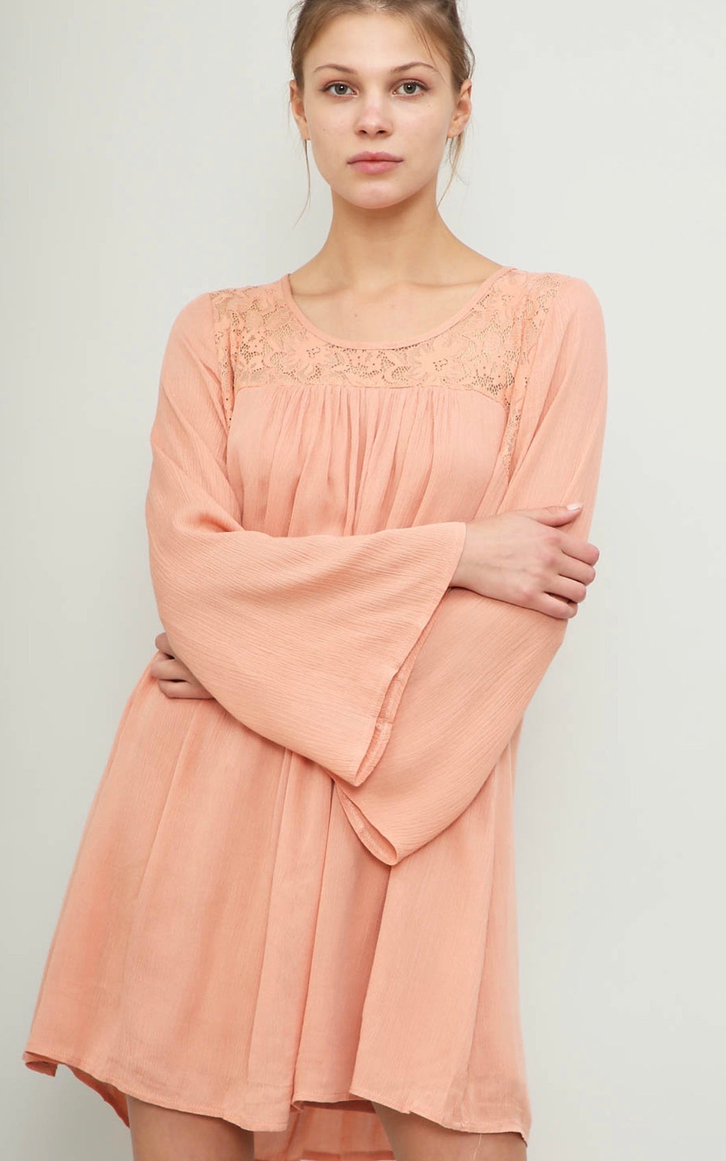 1267 - Lace Peach Boho Dress