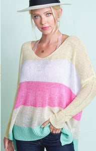 989 - Colorful Striped Lightweight Sweater