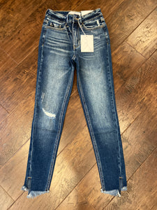 KC9237- High Rise Fray Ankle Skinny