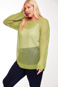 1747 - Light Mesh Cross Back Sweater