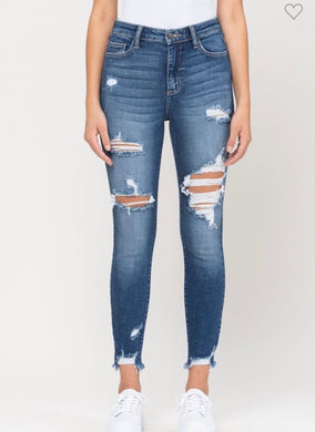 Cello High Rise Distress Fray Hem Crop Skinny (WV77717)