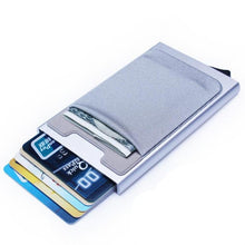 Load image into Gallery viewer, Wallet Pop Up Minimalist Credit card holder is made of strong and durable aluminum alloy and high quality PU leather with stainless steel money clip. This front pocket wallet is very well-made. Dimensions 4.2 * 2.45 * 0.7 inch / 107 * 62 * 18 mm
