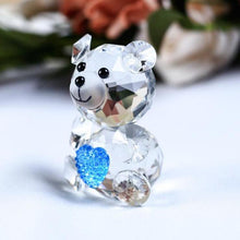 Load image into Gallery viewer, Vintage mini Bear  crystal figurine is part of the . It is in good, used condition and is from an Illinois estate collection.  This bear has black eyes and nose, oval paws.