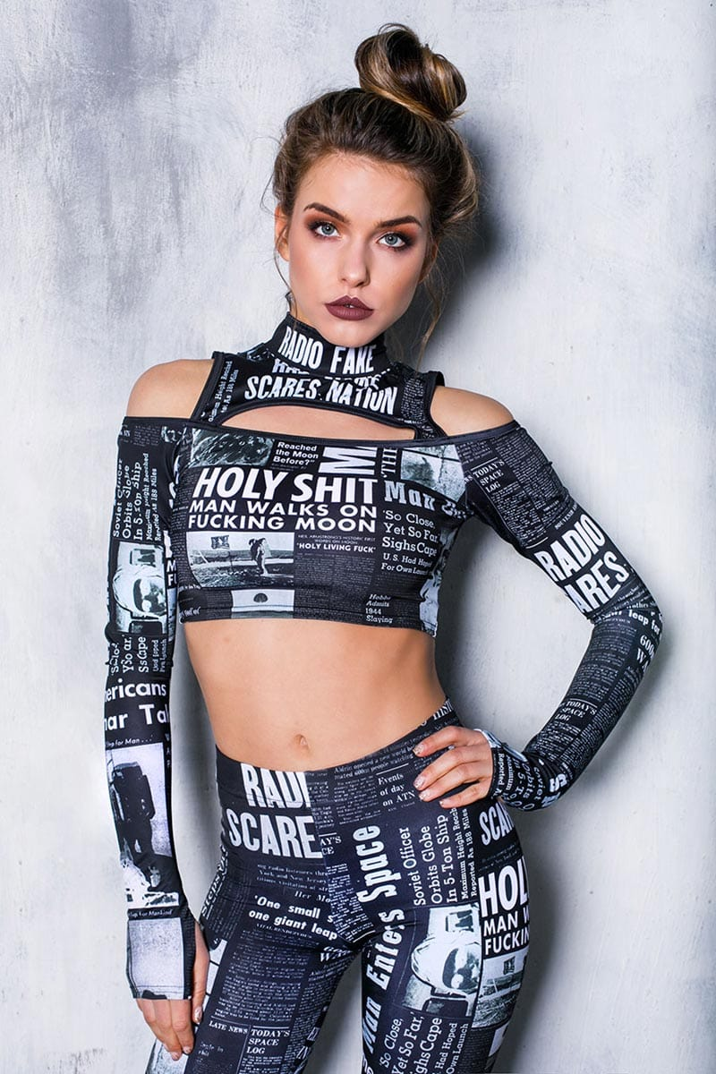 black-newspaper-two-piece-set-front