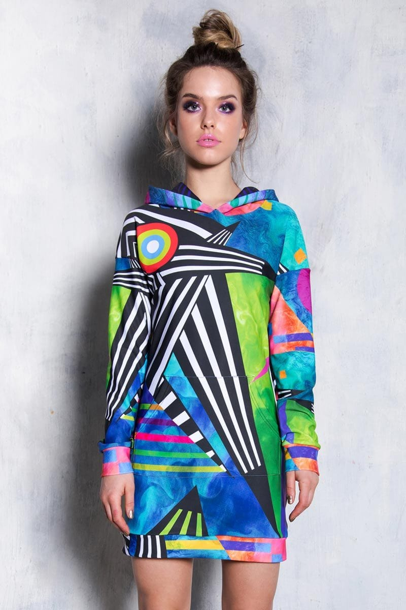 Abstract Geometry Hoodie Dress Side View