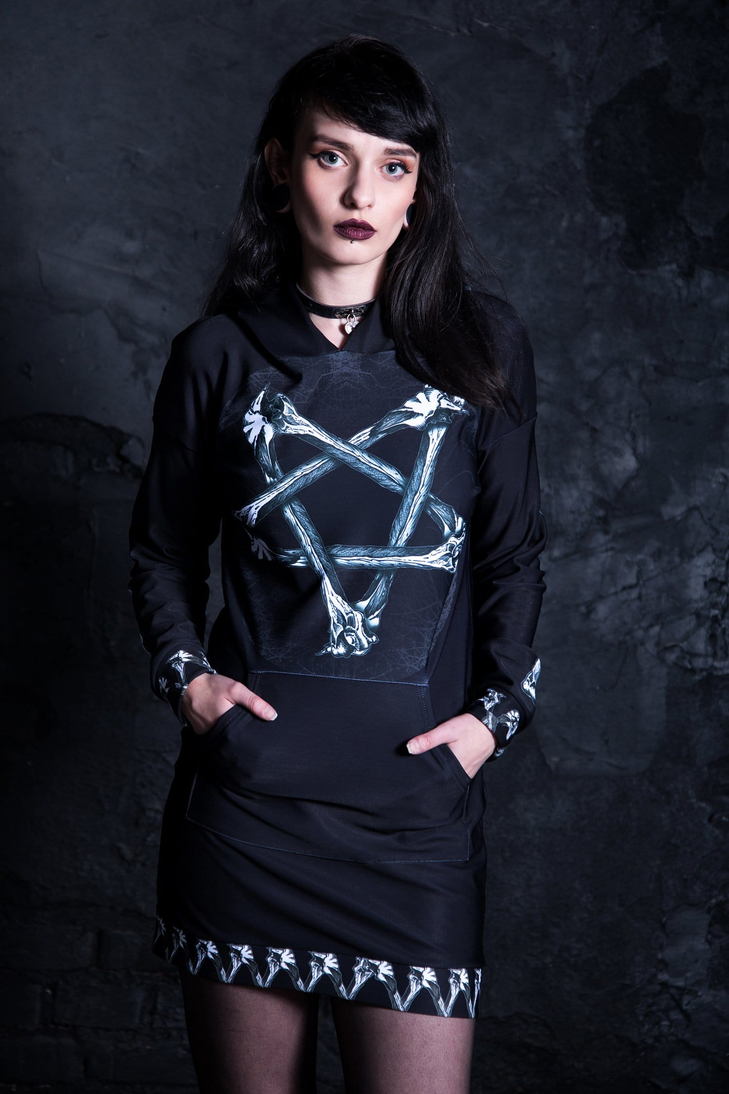 Bones Pentagram Hoodie Dress Front View