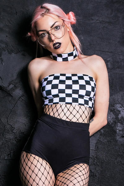 checkered-choker-boob-tube