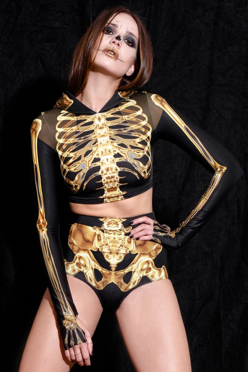 Gold Skeleton High Waisted Shorts
