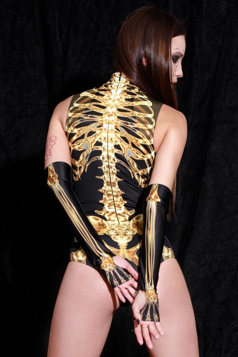 Gold Skeleton Sleeveless Bodysuit