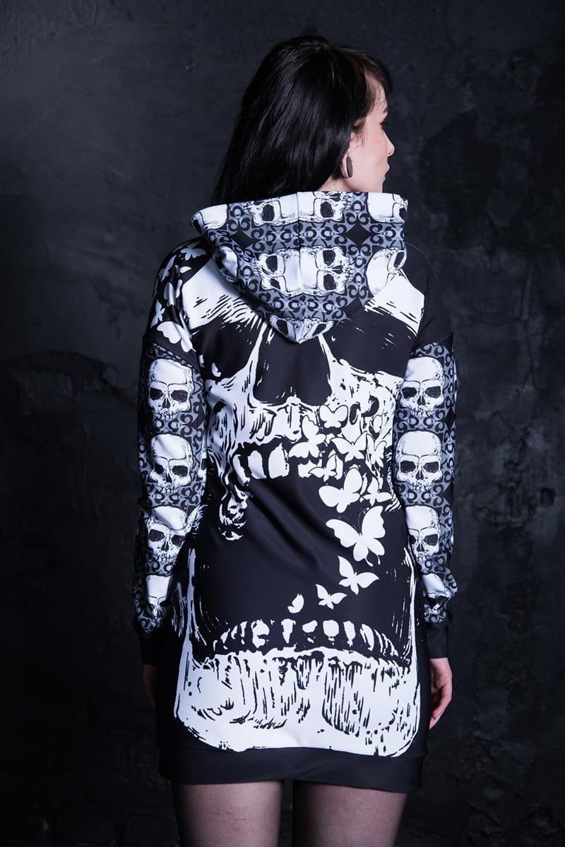 Skull With Butterflies Hoodie Dress Close View
