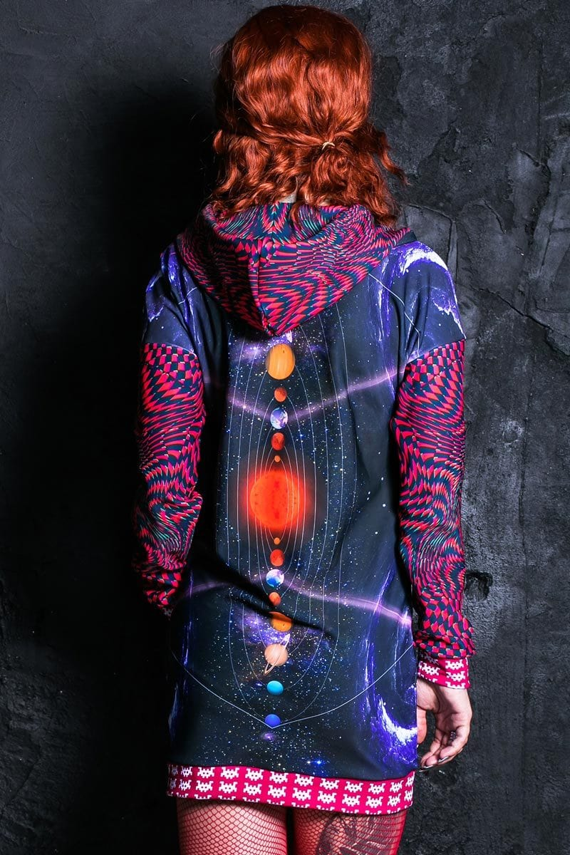 Space Invader Hoodie Dress Front View