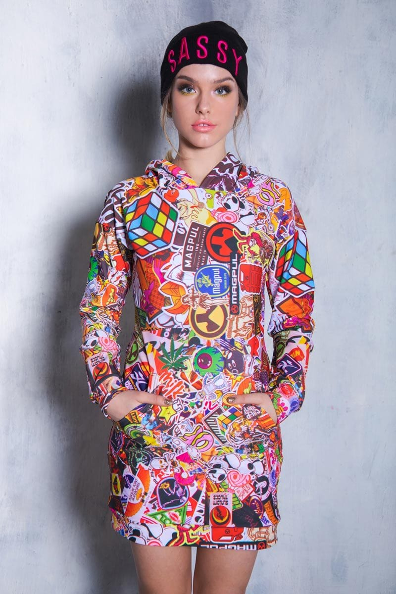 Sticker Bomb Hoodie Dress Front View