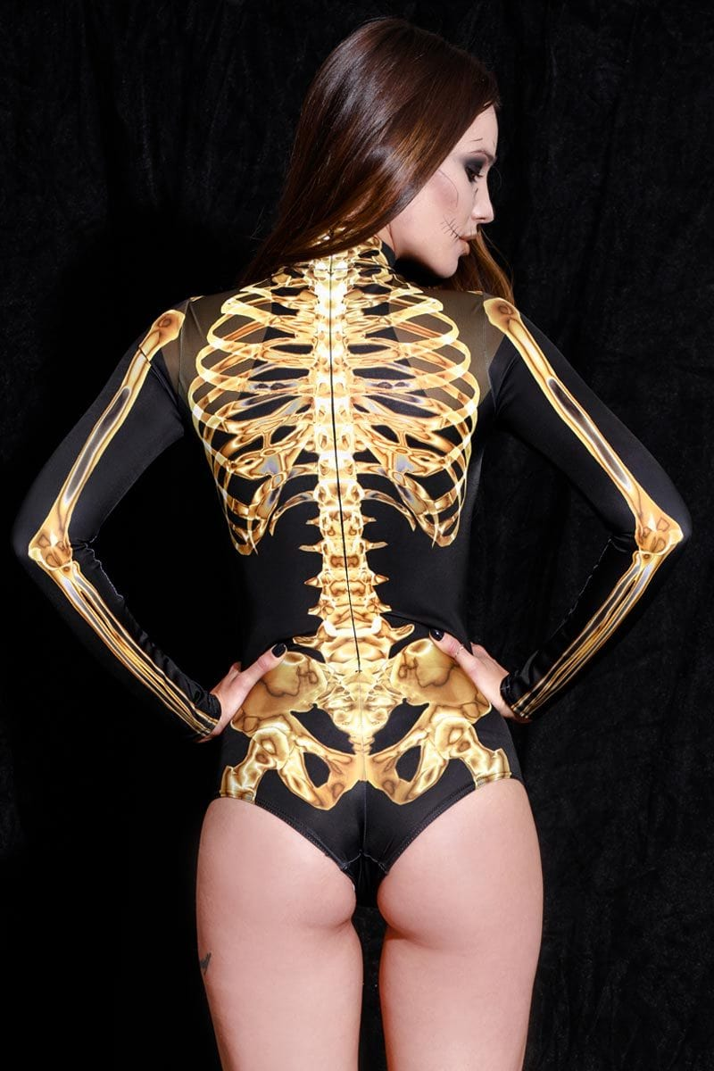 Golden Skeleton Long Sleeve Bodysuit