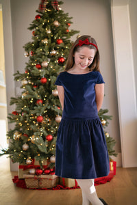 alexa drop waist party dress navy velvet