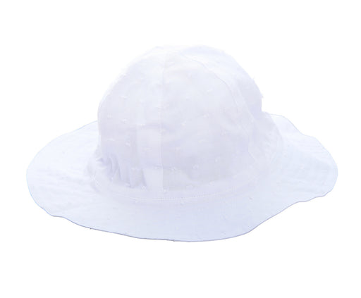 baby sun hat white swiss dot