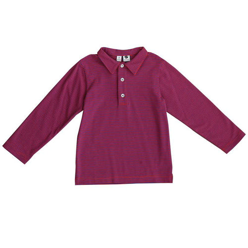 busy bees long sleeve polo mini red blue stripe knit