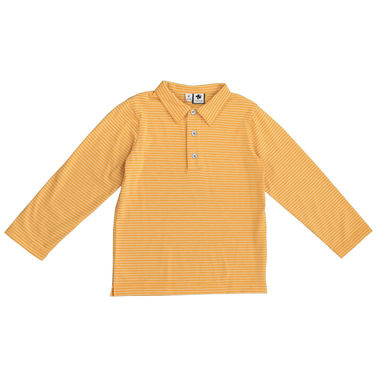 busy bees long sleeve polo marigold stripe