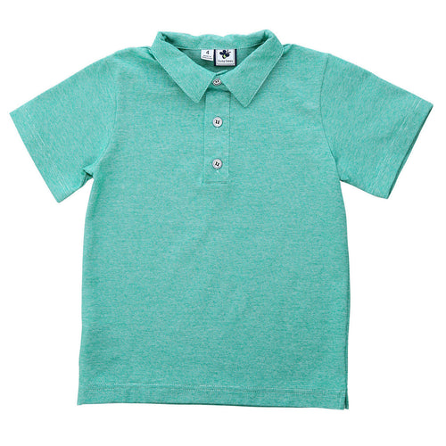 busy bees polo green chambray knit