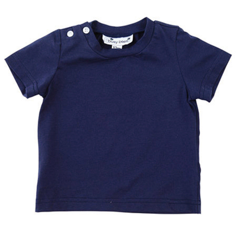henry boys button shoulder tee navy knit