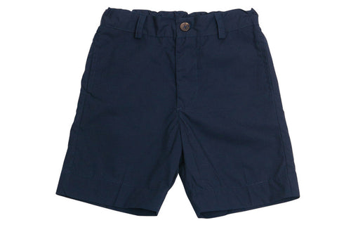 alex flat front shorts navy cotton poplin