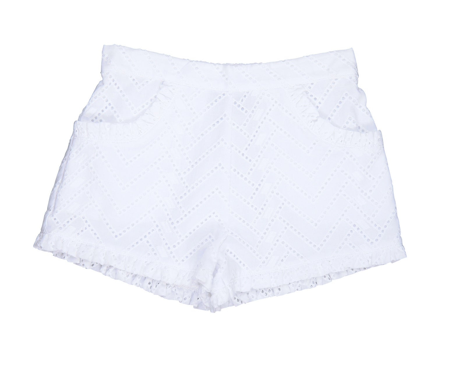 phoebe pocket shorts white eyelet