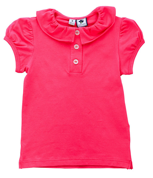eliza girls ruffle polo fuchsia pink knit