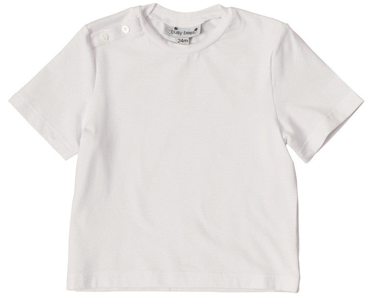 infant and boys' henry button shoulder tee white knit