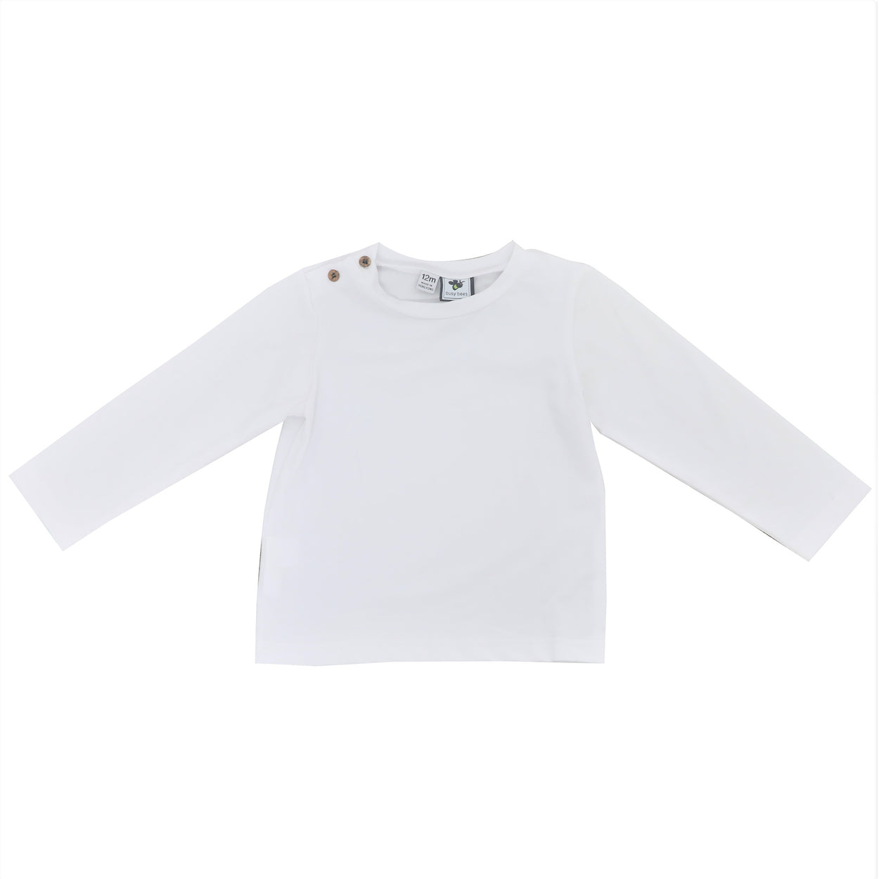 henry boys button shoulder long sleeve tee white knit