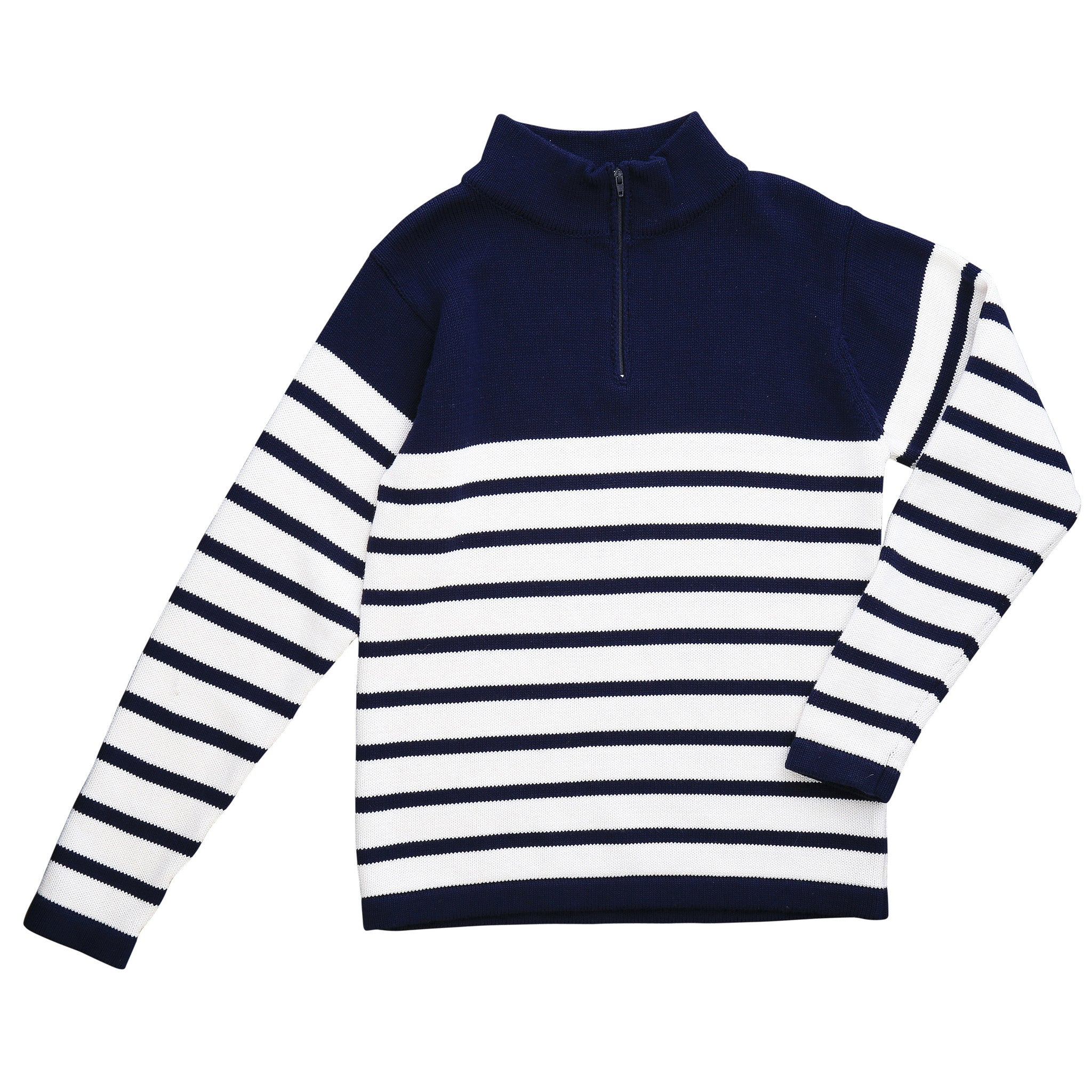 cotton zip sweater breton navy white stripe