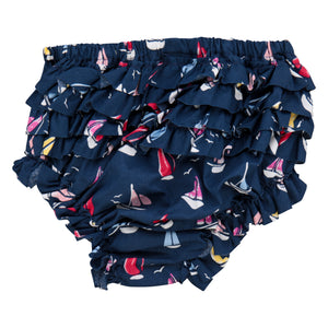 Gigi ruffle bloomer navy sailboats