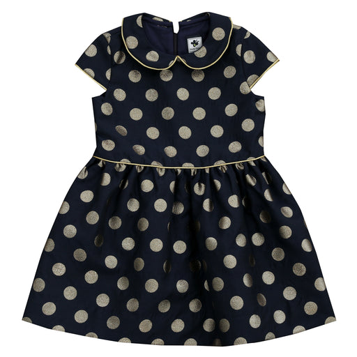 anna girls peter pan collar dress navy gold dot