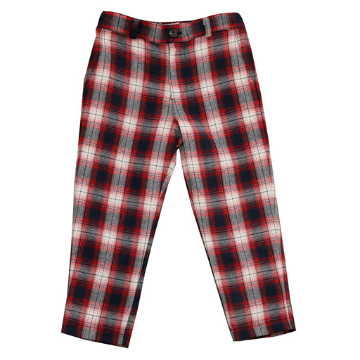 alex boys flat front pant red plaid